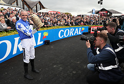Ruby Walsh celebrates winning the Coral Punchestown Gold Cup on Kemboy during day two of the Punchestown Festival at Punchestown Racecourse, County Kildare, Ireland.