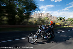 Coast-to-coast on a '36 Knuckle. Outside Grand Junction, CO. 2014<br /> <br /> Limited Edition Print from an edition of 15. Photo ©2014 Michael Lichter.