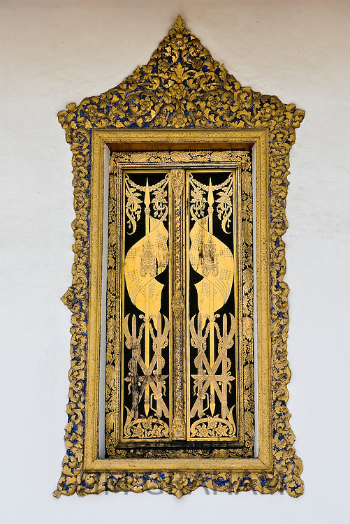 Decorative window within The Grand Palace and Temple Complex, Bangkok, Thailand