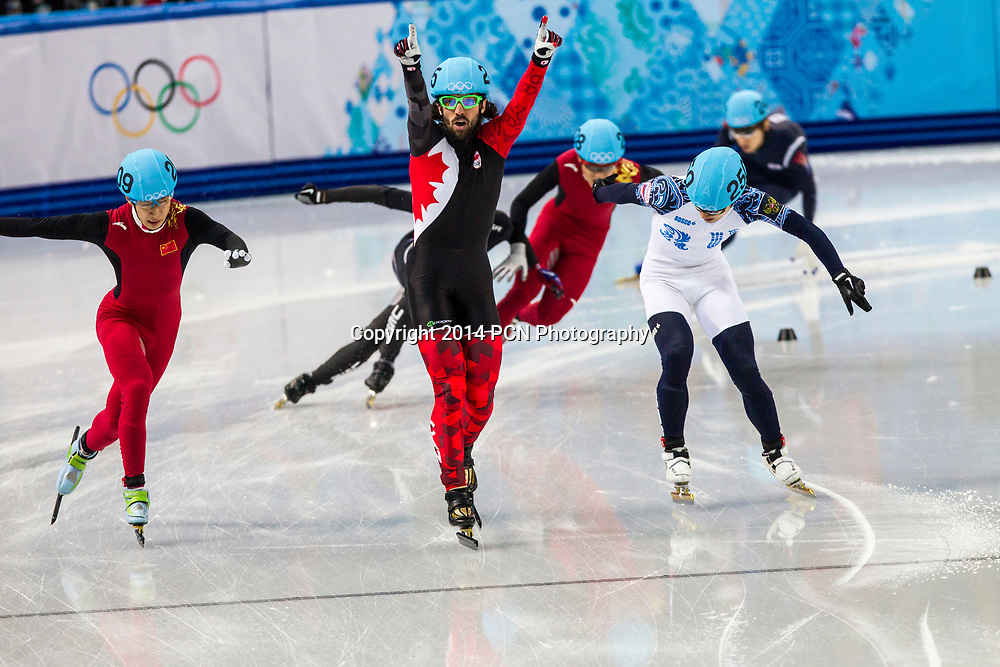 Charles Hamelin (CAN) winning the Men's Short Track 1500m finals  at the  Olympic Winter Games, Sochi 2014