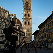 The Duomo cathedral and Giotto's Bell Tower serve as a unofficial town center in Florence, Italy.