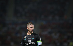 August 8, 2017 - Skopje, Macedonia - Real Madrid's Spanish defender Sergio Ramos during the UEFA Super Cup football match between Real Madrid and Manchester United on August 8, 2017, at the Philip II Arena in Skopje. (Credit Image: © Raddad Jebarah/NurPhoto via ZUMA Press)