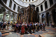 The Tomb of Christ in the Church of the Holy Sepulchre in the old city of Jesusalem.<br /> Photo by Dennis Brack