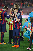 Barcelona´s Andres Iniesta celebrates after winning the 2014-15 Copa del Rey final match against Athletic de Bilbao at Camp Nou stadium in Barcelona, Spain. May 30, 2015. (ALTERPHOTOS/Victor Blanco)