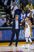 Golden State Warriors head coach Steve Kerr coaches from the sidelines during a NBA game against the Houston Rockets at Oracle Arena in Oakland, Calif., on October 17, 2017. (Stan Olszewski/Special to S.F. Examiner)