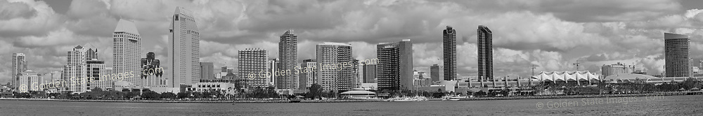 Grayscale - Black and White version of PAN-044. San Diego skyline with dramatic cloud formations. <br /> <br /> Panoramic available up to 14638x2431 pixels.