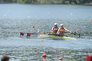 Lucerne. Switzerland. USA  W2X. Bow. Meghan O'LEARY and Ellen TOMEK, move away from the start pontoon in their heat of the women's double Sculls, 2013 FISA WC. III. 13:42:13  Friday  12/07/2013  [Mandatory Credit, Peter Spurrier/ Intersport Images] Lake Rotsee,