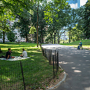 Central Park remains sparse during the Phase 4 reopening on Monday, August 3, 2020 in New York, New York. Mayor de Blasio is asking travelers from 34 states and Puerto Rico, where COVID-19 infection rates are high, to quarantine for 14 days after arriving in the city.  (Alex Menendez via AP)