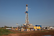 An active drilling rig site at a fracking site, in Alva, Oklahoma. Alva is in Woods County in the Northwestern part of the state where the fracking industry is booming.