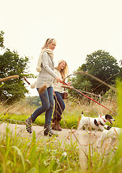 Mother and Daughter Walking Dogs