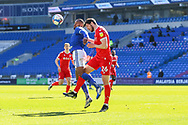 Cardiff City's Leandro Bacuna (7) competes for a ball with Nottingham Forest's Scott McKenna (26) during the EFL Sky Bet Championship match between Cardiff City and Nottingham Forest at the Cardiff City Stadium, Cardiff, Wales on 2 April 2021.
