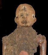 A power figure used by ritual shaman as a magic fetish doll. Wood, iron and fibre. Congo culture	ribe, Democratic Republic of the Congo (Zaire), early 20th Century