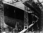 Construction of the Titanic 1911. Construction at Harland and Woolf Belfast.