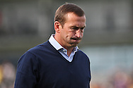 Newport manager Justin Edinburgh appears relieved as he walks off the pitch at the end of the match. Skybet football league two match, Newport county v Northampton Town at Rodney Parade in Newport, South Wales on Saturday13th Sept 2014<br /> pic by Mark Hawkins, Andrew Orchard sports photography.