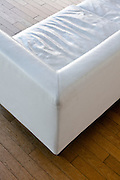 white leather bench corner