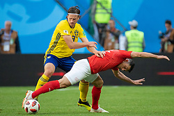 July 3, 2018 - St Petersburg, RUSSIA - 180703 Gustav Svensson of Sweden and Manuel Akanji of Switzerland competes for the ball during the FIFA World Cup round of 16 match between Sweden and Switzerland on July 3, 2018 in St Petersburg..Photo: Joel Marklund / BILDBYRÃ…N / kod JM / 87748 (Credit Image: © Joel Marklund/Bildbyran via ZUMA Press)