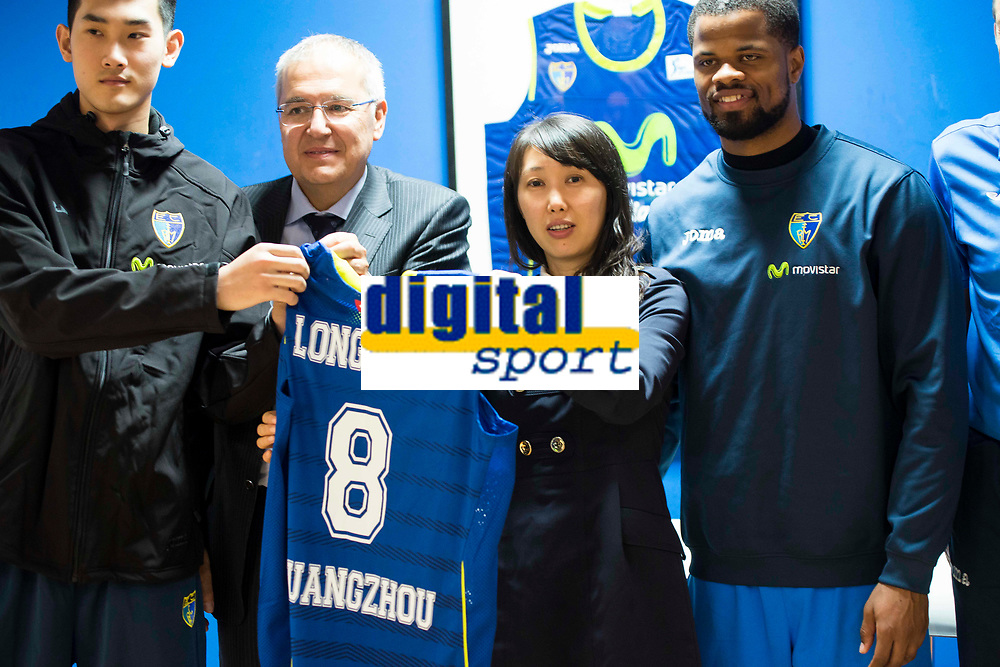 Chinese player, Vice President of Club Estudiantes Miguel Angel Panduro, General Manager of chinese club Tammy Zhao and Estudiantes's player Omar Cook during the international agreement between Club Movistar Estudiantes and Club Guangzhou Longlions in Madrid. November 17, Spain. 2016. (ALTERPHOTOS/BorjaB.Hojas)