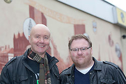 Irvine Welsh with the artist Tom Ewing, unveiling a 22 foot by 10 foot mural at Leith Dockers Club.<br /> © Michael Schofield.