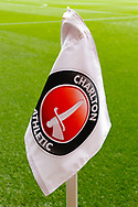 General stadium view showing the corner flag inside The Valley stadium before the EFL Sky Bet League 1 second leg Play-Off match between Charlton Athletic and Doncaster Rovers at The Valley, London, England on 17 May 2019.