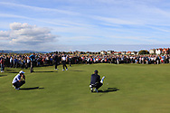 Andy Ogletree (USA) and Euan Walker (GB&I) on the 18th green during Day 2 Foursomes of the Walker Cup, Royal Liverpool Golf CLub, Hoylake, Cheshire, England. 08/09/2019.<br /> Picture Thos Caffrey / Golffile.ie<br /> <br /> All photo usage must carry mandatory copyright credit (© Golffile   Thos Caffrey)