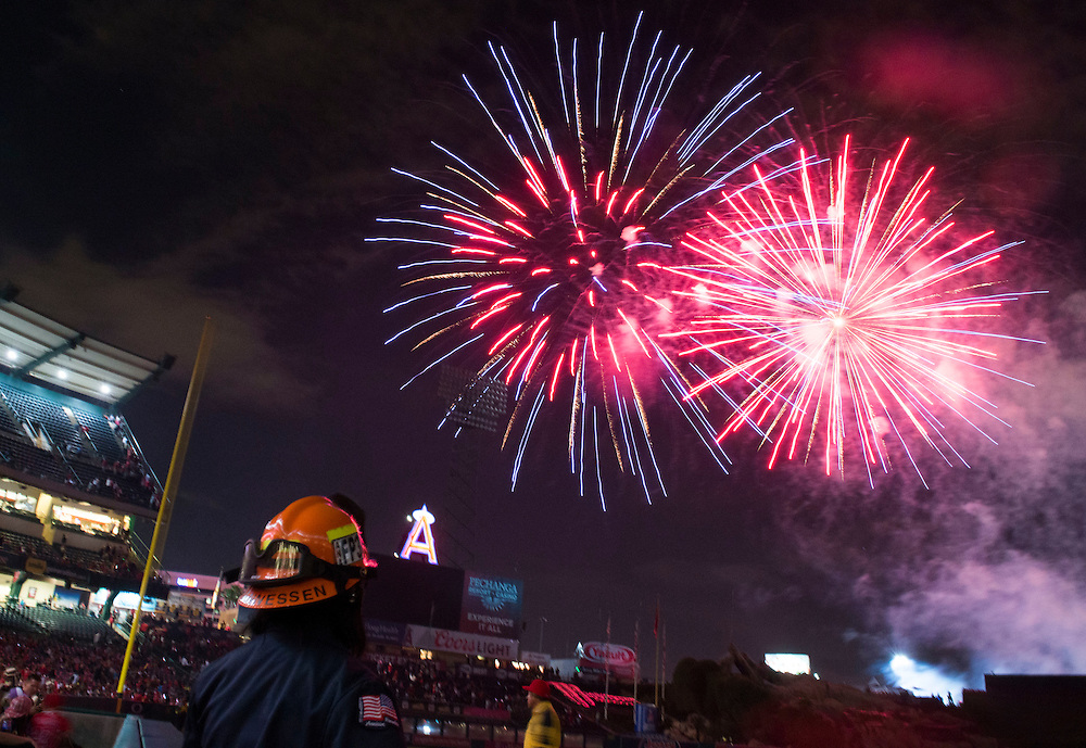 Fireworks entertain the crowd after the Angels' 4-2 loss to the Tampa Bay Rays Saturday at Angel Stadium.<br /> <br /> ///ADDITIONAL INFO:   <br /> <br /> angels.0508.kjs  ---  Photo by KEVIN SULLIVAN / Orange County Register  --  5/7/16<br /> <br /> The Los Angeles Angels take on the Tampa Bay Rays at Angel Stadium Saturday.<br /> <br />  5/7/16