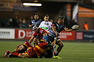 Nick Williams of Cardiff Blues. Guinness Pro14 rugby match, Cardiff Blues v Dragons at the Cardiff Arms Park in Cardiff, South Wales on Friday 6th October 2017.<br /> pic by Andrew Orchard, Andrew Orchard sports photography.