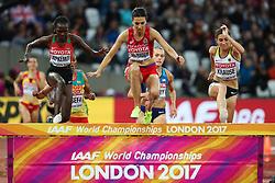 London, August 09 2017 . Fadwa Sidi Madane, Morocco, ahead of Hyvin Kiyeng Jepkemoi, Kenya, and Gesa Felicitas Krause, Germany, in the women's 3,000m steeplechase heats on day six of the IAAF London 2017 world Championships at the London Stadium. © Paul Davey.