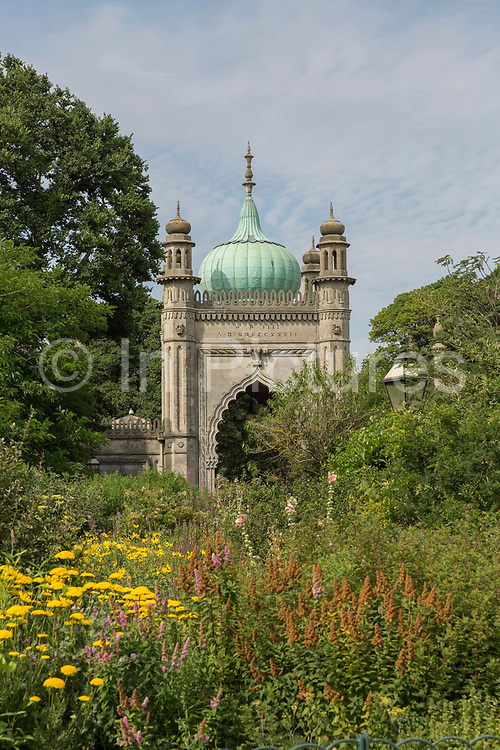 The Brighton Dome and gardens on the 19th July 2018 in Brighton in the United Kingdom. The Brighton Dome is an arts venue in Brighton, England, that contains the Concert Hall, the Corn Exchange and the Studio Theatre.