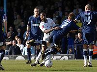 Photo: Ashley Pickering.<br />Southend United v Leeds United. Coca Cola Championship. 17/03/2007.<br />Tresor Kandol of Leeds (white) tackles Southend goal scorer Mark Gower