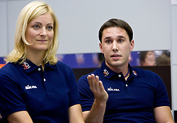 Medical doctor Eva Topole and Physiotherapist Marko Sercer at press conference of volleyball club ACH Volley before new season 2009/2010,  on September 28, 2009, in Ljubljana, Slovenia.  (Photo by Vid Ponikvar / Sportida)