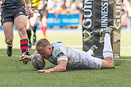 Gareth Anscombe of the Cardiff Blues scores his teams 3rd and final try of the match. Guinness Pro12 rugby match, Cardiff Blues v Newport Gwent Dragons at the Cardiff Arms Park in Cardiff, South Wales on Sunday 17th April 2016.<br /> pic by Simon Latham, Andrew Orchard sports photography.