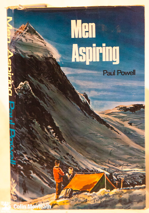 MEN ASPIRING, This copy signed to title page by author Paul Powell, 1st edn., 1967 AH and AW Reed, Wellington, 184 page hardback, VG with VG jacket, v sl fray marks at top edge, previous owner's name fep., B&W plates, great maps, Super stories of climbing and tramping around Otago/Aspiring Alps - see also Powell's book Just Where do you think you've been in this gallery - $NZ75