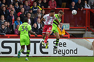 Forest Green Rovers Jack Fitzwater(16) wins a header before Stevenage Forward, Kyle Wootton (9) during the EFL Sky Bet League 2 match between Stevenage and Forest Green Rovers at the Lamex Stadium, Stevenage, England on 21 October 2017. Photo by Adam Rivers.