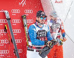 28.12.2017, Stelvio, Bormio, ITA, FIS Weltcup, Ski Alpin, Abfahrt, Herren, Flower Zeremonie, im Bild V.L. Dominik Paris (ITA, 1. Platz), Kjetil Jansrud (NOR, 3. Platz) // f.l. race winner Dominik Paris of Italy, third placed Kjetil Jansrud of Norway during the Flowers ceremony for the men's downhill of FIS Ski Alpine World Cup at the Stelvio course, Bormio, Italy on 2017/12/28. EXPA Pictures © 2012, PhotoCredit: EXPA/ Johann Groder
