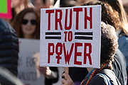 """San Francisco, USA. 19th January, 2019. At  the Women's March San Francisco, a protester holds a sign reading: """"Truth to Power,"""" the slogan or catch phrase for the 2019 Women's Marches. Credit: Shelly Rivoli/Alamy Live News"""