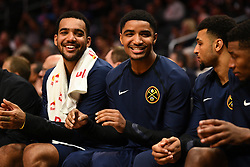 October 9, 2018 - Los Angeles, CA, U.S. - LOS ANGELES, CA - OCTOBER 09: Denver Nuggets Guard Gary Harris (14) jokes with Denver Nuggets Forward Trey Lyles (7) on the bench during an NBA preseason game between the Denver Nuggets and the Los Angeles Clippers on October 9, 2018 at STAPLES Center in Los Angeles, CA. (Credit Image: © Brian Rothmuller/Icon SMI via ZUMA Press)