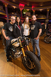 Cody Penkwitz with his friends and his custom XV920 Yamaha at the Mama Tried Show. Milwaukee, WI. USA. Saturday February 24, 2018. Photography ©2018 Michael Lichter.