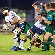 GALWAY, IRELAND:  October 01:    Marcell Coetzee #6 of Vodacom Bulls looks to pass during the Connacht V Vodacom Bulls, United Rugby Championship match at The Sportsground on October 1st, 2021 in Galway, Ireland. (Photo by Tim Clayton/Corbis via Getty Images)