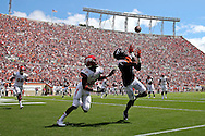 Sep 3, 2016; Blacksburg, VA, USA; Virginia Tech Hokies wide receiver Isaiah Ford (1) catches a touchdown pass against Liberty Flames cornerback Chris Turner (39) during the first quarter at Lane Stadium. Mandatory Credit: Peter Casey-USA TODAY Sports