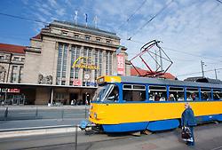 Tram passing main railway station or Hauptbahnhof in Leipzig Germany