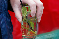 May 4, 2019 - Louisville, KY, U.S. - LOUISVILLE, KY - MAY 04: A fan enjoys at mint julep prior to the 145th running of the Kentucky Derby on May 4, 2019 at Churchill Downs, in Louisville, KY.(Photo by Jeffrey Brown/Icon Sportswire) (Credit Image: © Jeffrey Brown/Icon SMI via ZUMA Press)