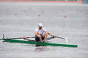 "Rio de Janeiro. BRAZIL.  2016 Men's single sculls semi final A/B left to right. NZL M1X, Mahe DRYSDALE, BEL M1X, Hannes OBRENO and Alan CAMPBELL  2016 Olympic Rowing Regatta. Lagoa Stadium,<br /> Copacabana,  ""Olympic Summer Games""<br /> Rodrigo de Freitas Lagoon, Lagoa. Local Time 10:10:29  Friday  12/08/2016 <br /> [Mandatory Credit; Peter SPURRIER/Intersport Images]"