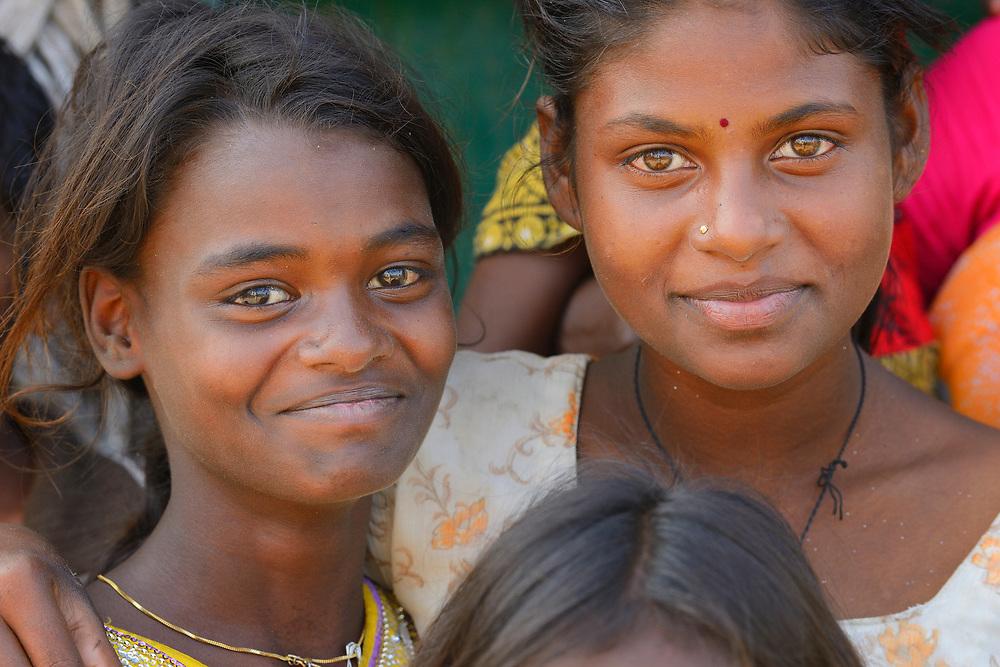 Portrait of girls in Tongal village, Pulicat Lake, Tamil Nadu, India