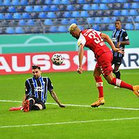 13.09.2020, Carl-Benz-Stadion, Mannheim, GER, DFB-Pokal, 1. Runde, SV Waldhof Mannheim vs. SC Freiburg, <br /> <br /> DFL REGULATIONS PROHIBIT ANY USE OF PHOTOGRAPHS AS IMAGE SEQUENCES AND/OR QUASI-VIDEO.<br /> <br /> im Bild: Vincenzo Grifo (SC Freiburg #32) gegen Marcel Hofrath (SV Waldhof Mannheim #31)<br /> <br /> Foto © nordphoto / Fabisch