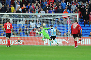 Cardiff city goalkeeper saves a close range shot from Boro's Scott McDonald (27). NPower Championship, Cardiff city v Middlesbrough at the Cardiff city stadium in Cardiff in South Wales on Saturday 17th November 2012.  pic by Andrew Orchard, Andrew Orchard sports photography,