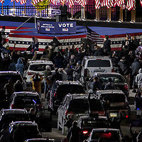 Vice President Joe Biden, the Democratic candidate for President holds a drive-in rally outside of Heinz Field in Pittsburgh, on Monday, November 2, 2020 the night before the election.  Photo by Archie Carpenter/UPI