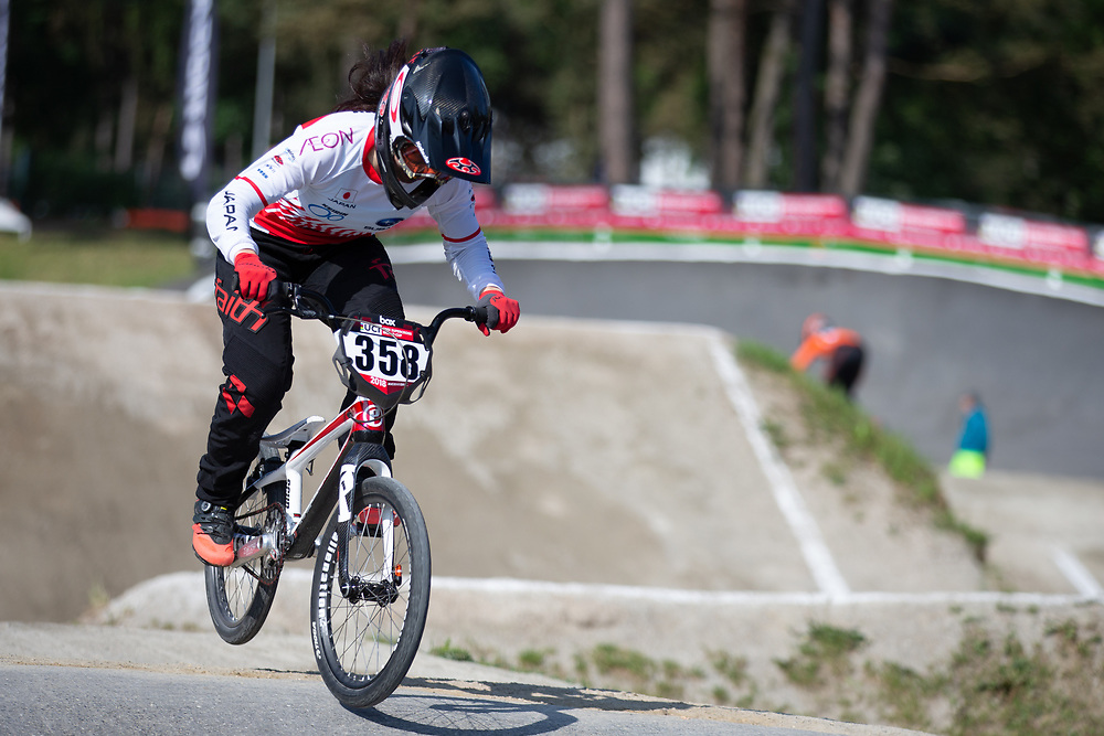 #358 (TANNO Kanami) JPN during practice at Round 5 of the 2018 UCI BMX Superscross World Cup in Zolder, Belgium