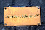 A brass sign at one of the wine merchants (negociants) in Bordeaux: Schroder & Schyler & Cie on the Quai des Chartrons