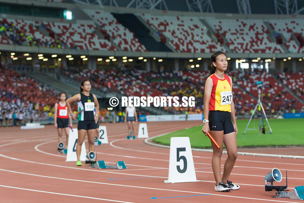 National Stadium, Friday, April 28, 2017 — Since National Junior College's four-year gold-winning streak from 2003 to 2006, dominance in the A Division girls' 4 by 100 metres relay has been equally shared between Raffles and Hwa Chong – with five golds each – for the following decade. Story: https://www.redsports.sg/2017/04/30/a-div-4x100m-relay-girls-ri/