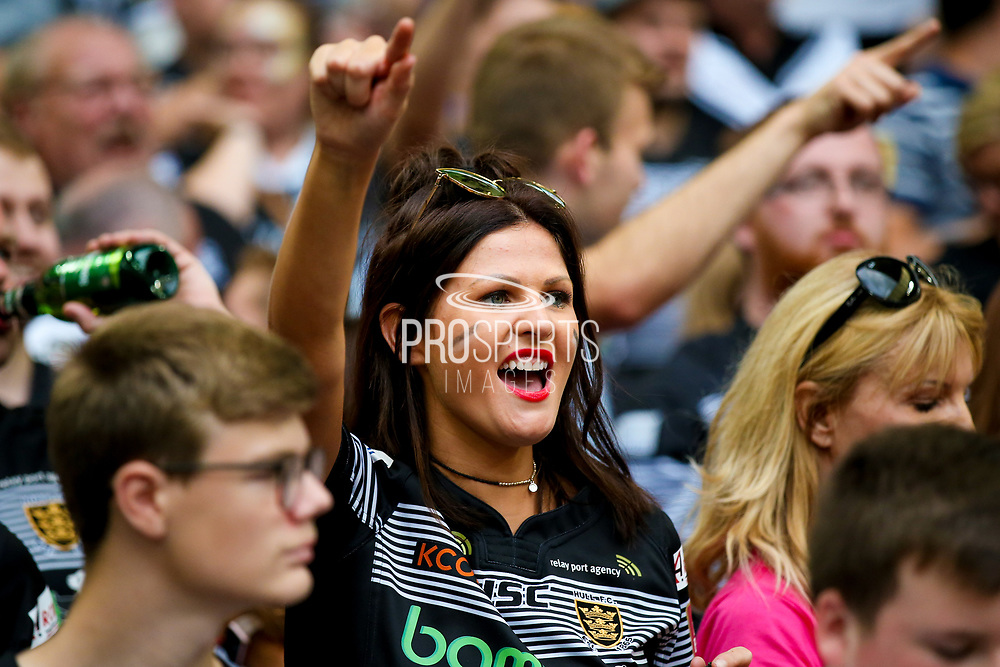 Celebrating Hull FC fans at the end of  the Ladbrokes Challenge Cup Final 2017 match between Hull RFC and Wigan Warriors at Wembley Stadium, London, England on 26 August 2017. Photo by Simon Davies.